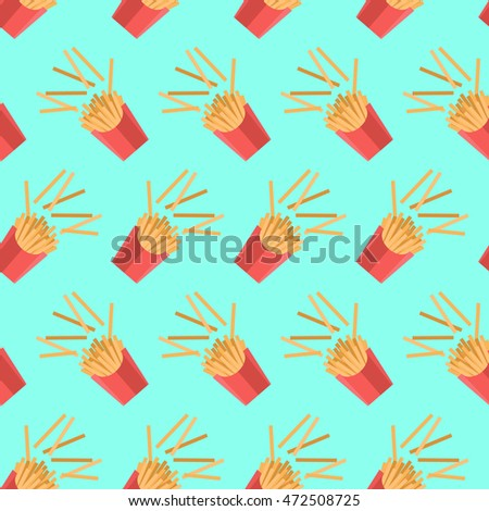 Pattern with french fries in a flat style. Vector seamless background.