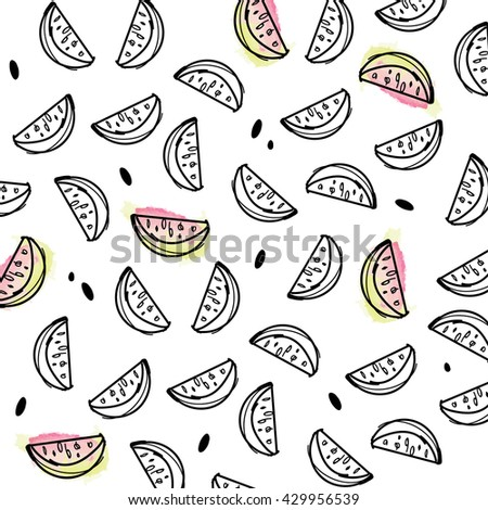 Pattern with funny watermelon for design, banners, cards, textile