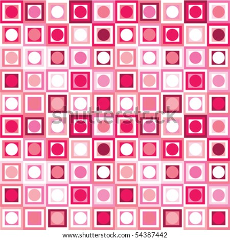 Pattern with geometrical shapes in pink tones - stock vector