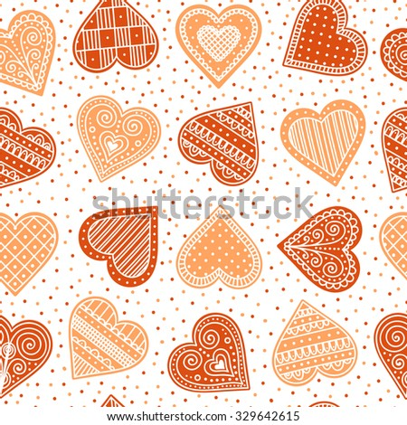 Pattern with gingerbread hearts. Cute Christmas background with hand drawn cookies. Seamless winter pattern. Brown colors.