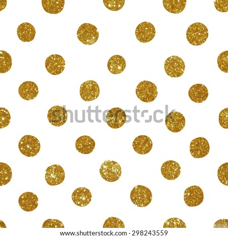 Pattern with gold glitter circles. Vector illustration.