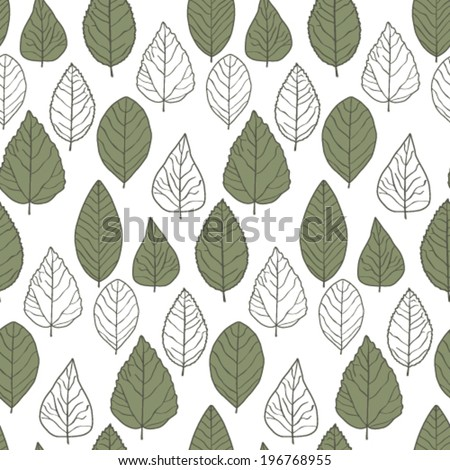 Pattern with green and white leaves