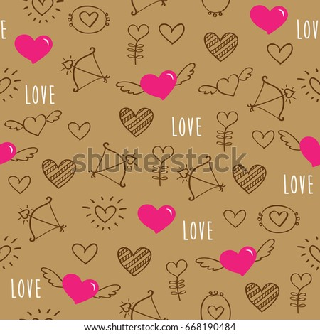 Pattern Hand Drawn Hearts Gift Wrap Stock Photo Photo Vector