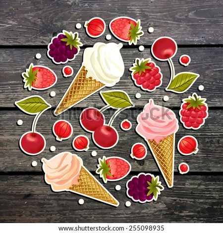Pattern with ice cream and berries. Wood texture, vector background. - stock vector