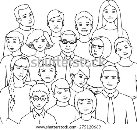 pattern with  illustration of a group of young men and women of different nationalities and nurture. hand drawn vector illustration - stock vector