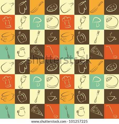 stock vector pattern with kitchen elements 101257225 - Каталог — Фотообои «Еда, фрукты, для кухни»