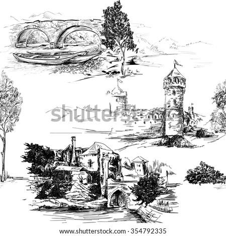 Pattern with landscape and castles seamless vector black and white