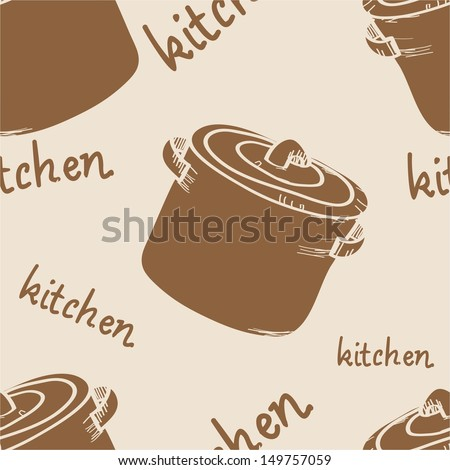 pattern with large saucepan - stock vector