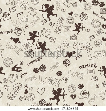 Pattern with love icons - stock vector