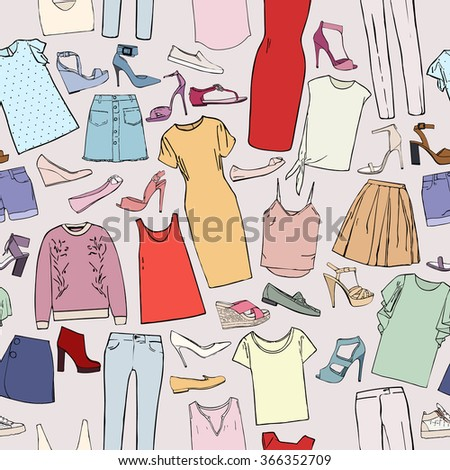 Pattern with pictures of clothes and accessories, dresses, blouses and tops, skirts, shorts, shoes and bows - stock vector