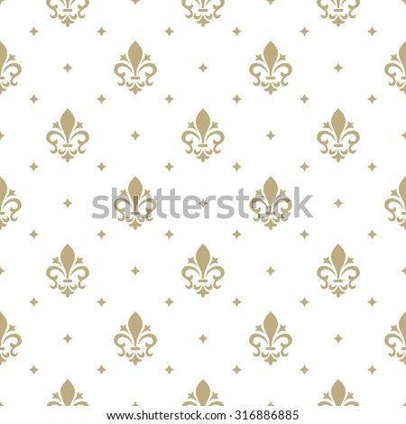Pattern with royal lily. Seamless vector background. Floral ornament.  - stock vector