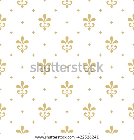 Pattern with royal lily. Seamless vector background. Floral white and gold ornament. - stock vector