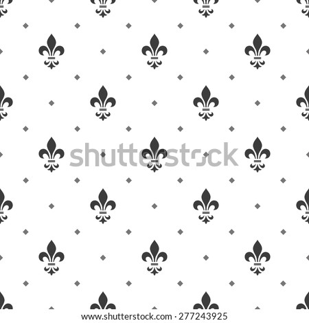 Pattern with royal lily. Seamless vector background. White and black floral ornament. - stock vector