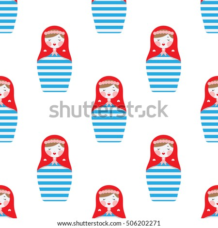 Pattern with Russian dolls - matryoshka and decorative elements for design. Vector illustration. Pattern for wallpaper, textile.