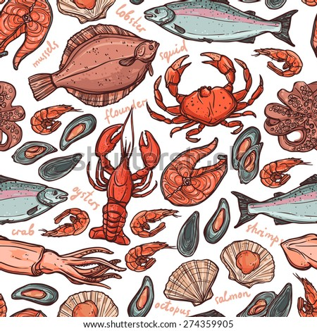Pattern with seafood hand drawn color elements with lobster, octopus, squid, salmon, flounder, crab, mussels, oysters and shrimps on white background - stock vector