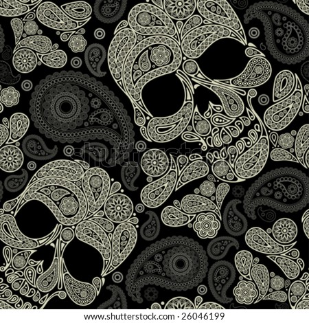 pattern with skull and peisley - stock vector