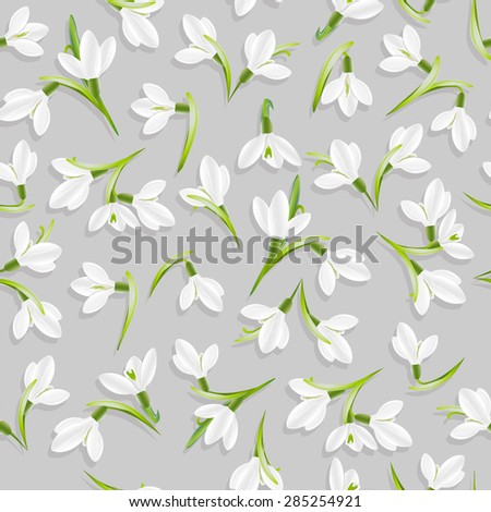 Pattern with snowdrop flowers. Seamless floral pattern. Vector, EPS 10 - stock vector