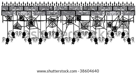 Pattern with spiders - stock vector