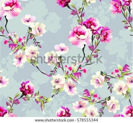 Pattern spring flowers branch on grey stock vektr 578555344 pattern with spring flowers with branch on grey background with flower silhouette mightylinksfo