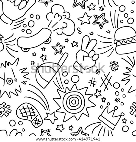 Pattern with stars skateboard burger etc