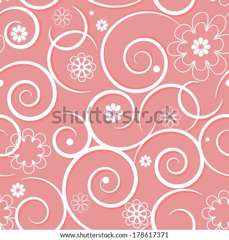 pattern with swirls of pink flowers - stock vector