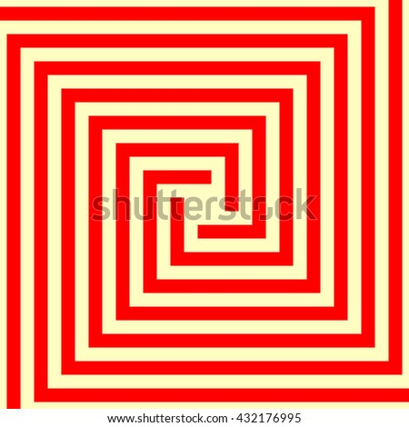 Pattern with symmetric geometric ornament. Red gold abstract background. Ornament picture wallpaper. Vector illustration - stock vector