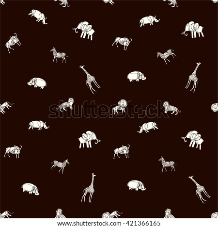 pattern with tiger, zebra, lion, buffalo, giraffe, elephant,  rhino and hippo