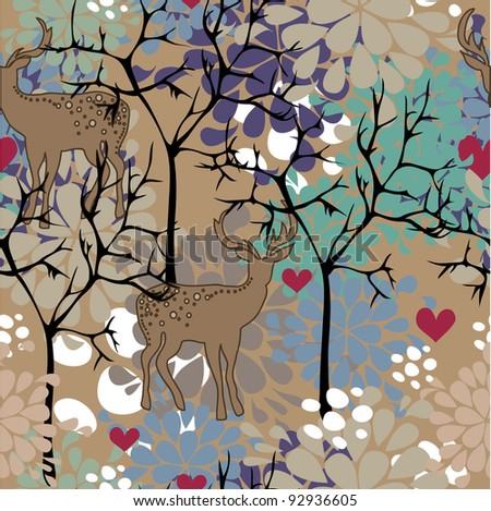 pattern with trees, deers and heart - stock vector