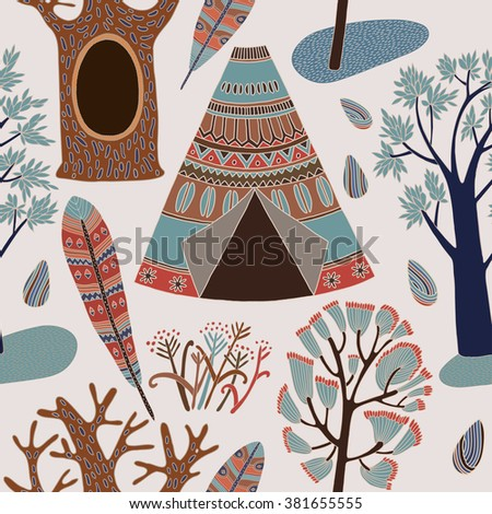 Pattern with trees. Vector illustration