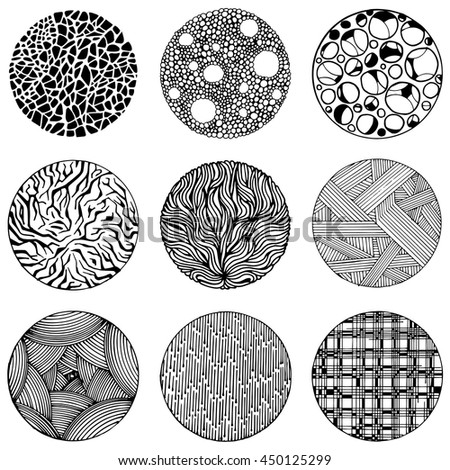 Pattern with vector doodle circles texture. Abstraction illustration.