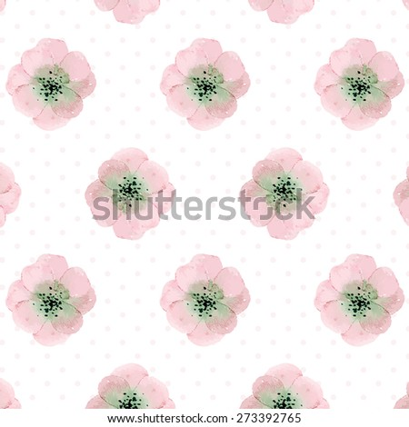 pattern with watercolor flowers on polka dots background. can be used like pattern for wrapping paper, textile, greeting cards or for wedding invitations