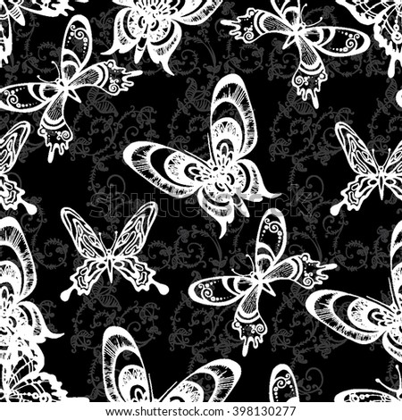 Pattern With White Butterflies On Black Background Picture Textile Seamless Wallpaper