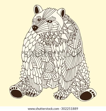 Patterned bear zentangle style. Good for T-shirt, bag or whatever print. Vector illustration - stock vector