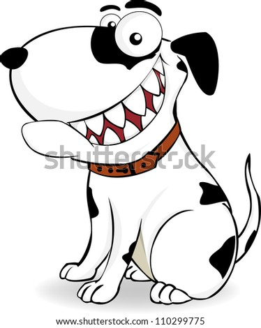 patterned black and white dog sitting smiling - stock vector