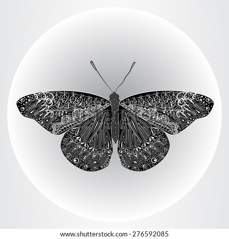 Patterned butterfly with decorative abstract elements in the monochrome view.  - stock vector