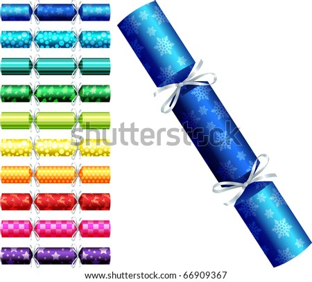 Patterned Christmas crackers in a variety of colours on a white background. - stock vector