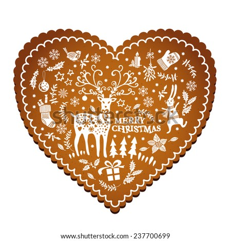 Patterned Christmas gingerbread. Hand-drawing. Vector illustration. Illustration for greeting cards, invitations, and other printing projects. - stock vector