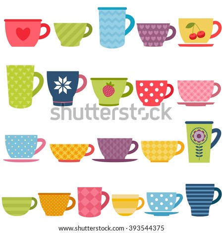 Patterned coffee and tea cups - stock vector