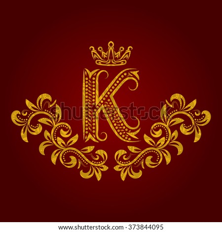 Patterned golden letter K monogram in vintage style. Heraldic coat of arms. Baroque logo template. - stock vector