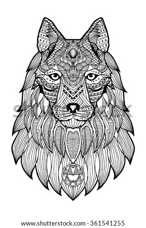Patterned head of a wolf, coyote, dog monochrome. Abstract ethnic image of the head of a wolf with tribal ornament. The ornament is painted by hand. Vector. A series of animals in the ethnic style. - stock vector