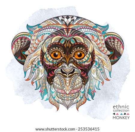 Patterned head of the monkey on the grunge background. African / indian / totem / tattoo design. It may be used for design of a t-shirt, bag, postcard, a poster and so on.   - stock vector