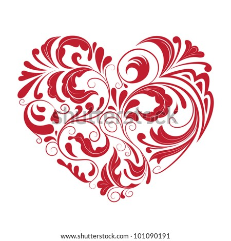 patterned heart - stock vector