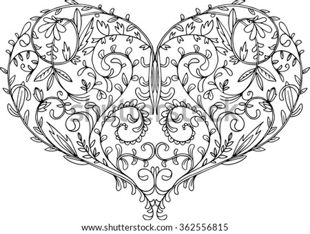 patterned heart, lace romantic symbol, valentines card, hand drawn linear design element