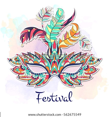 Background carnival mask design invitation card stock for Mardi gras mask tattoo