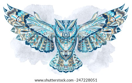 Patterned owl on the grunge watercolor background. African / indian / totem / tattoo design. It may be used for design of a t-shirt, bag, postcard, a poster and so on. - stock vector