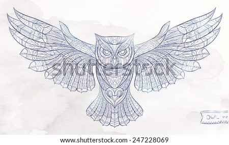 Patterned owl on the watercolor background. African / indian / totem / tattoo design / line art. It may be used for design of a t-shirt, bag, postcard, a poster and so on. - stock vector