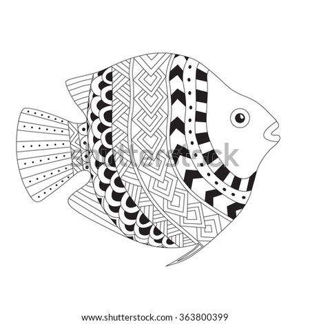 Patterned vector exotic fish in zentangle style. Ornamental illustration for adult anti stress coloring page.  - stock vector