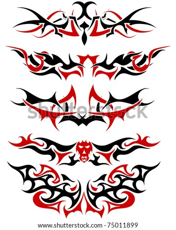 Patterns of black and red tribal tattoo for design use - stock vector