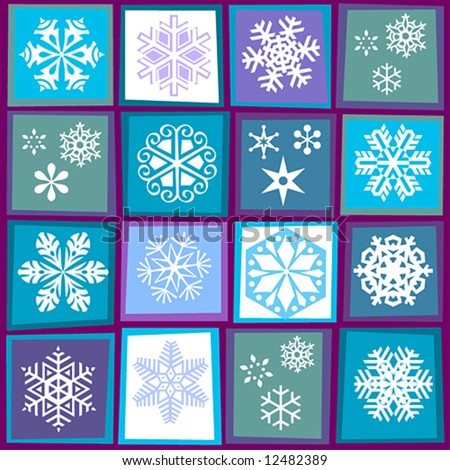 patterns of snowflakes in stylized squares - stock vector