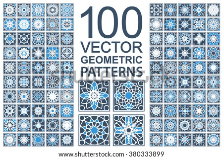 Patterns with geometric ornaments. Vector set of Arabic seamless textures - stock vector